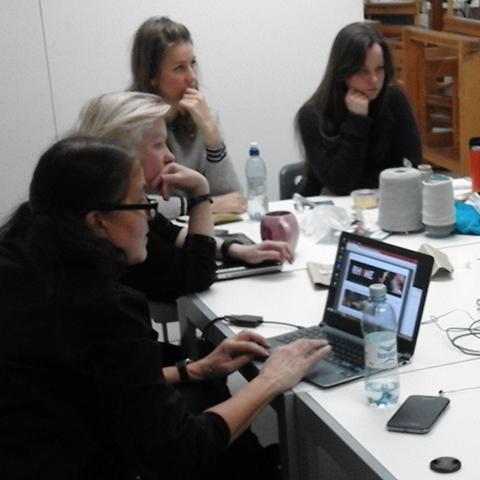 Birgitta shows Rhyme web site at Khio